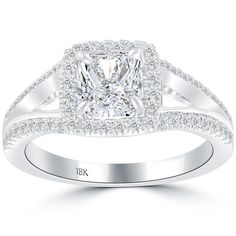 1.60 Carat F-SI1 Radiant Cut Natural Diamond Engagement Ring 18k White Gold #LioriDiamonds #DiamondEngagementRing