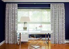 geometric panels + lucite chair + lacquer & chrome desk