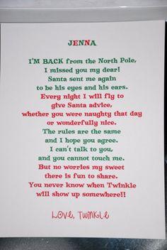 Day 1 - Elf on the Shelf I'm Back! Letter
