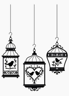 Birds in cages, vinyl wall art Silhouette Portrait, Silhouette Cameo, Stencils, Paper Art, Paper Crafts, Surface Art, Stencil Patterns, Bird Cages, Kirigami