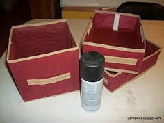 Spray paint those canvas bins! (Wednesday's What I Found – Dollar Store Boxes – Drab to Fab Sewing Room Storage, Fabric Storage Bins, Sewing Room Organization, Fabric Bins, Cube Storage, Craft Storage, Store Fabric, Storage Ideas, Dollar Tree Storage Bins