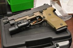 Sig Sauer P220 Combat TB.  Love Sigs, and it is awesome in this color. Military Weapons, Weapons Guns, Guns And Ammo, Glock Guns, Home Defense, Self Defense, Battle Rifle, Tac Gear, Sig Sauer