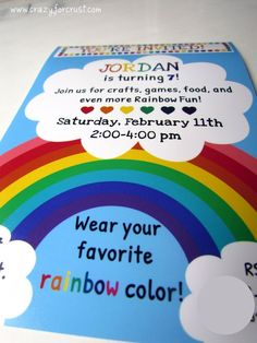 rainbow Party Invite - made a similar one for Genevieve's party. And I love the idea of wearing your favorite rainbow color! Rainbow Unicorn Party, Rainbow Birthday Party, Rainbow Theme, Baby Girl Birthday, 4th Birthday Parties, Birthday Fun, Birthday Ideas, Rainbow Colors, Rainbow Baby