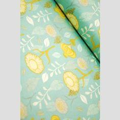 BOLT END - Gerbera Turquoise -  Timber and Leaf - Sarah Watts - Blend Fabrics