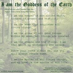 I am the Goddess of the Earth