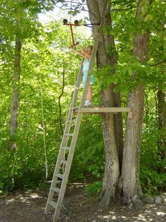 Zipline Tree Fort Note: Great Structure And Support Ideas. Ladder Could Be  A Climbing