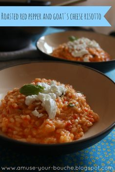 Roasted red pepper and goat's cheese risotto