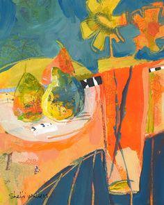« Poires & fleur Vase n ° 1 »  8 « x 10 » original peinture technique mixte sur papier    Peinture vient dans une 11 x 14 mat - le prêt à encadrer