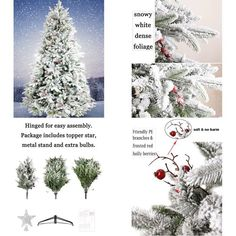 Artificial Flocked Christmas Tree Prelit 7.5ft White Snowed Holiday w/Metal Base #LuxuryXmasTrees
