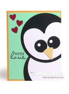 Peeking Penquin Card - Sandy Allnock - Paper punch penguin 5 - Link has Gallery of submitted OWH Penquin Cards too