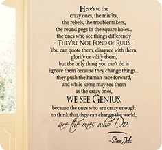 """36"""" Here's To The Crazy Ones Genius Steve Jobs Quote Crazy Enough To Change The World Wall Decal Sticker Art Mural Home Décor Quote"""