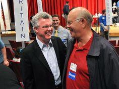 Waterbury--Connecticut House Speaker Chris Donovan, left, chats with delegate Paul Hinkley of Woodbury at the district 5 convention at Rotella Interdistrict Magnet School in Waterbury. Peter Casolino/New Haven Register Waterbury Connecticut, Magnet School, House Speaker, Politics, Political Books