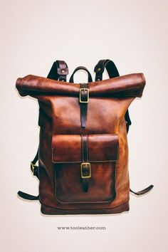 Tộc Leather 78 - Leather Roll Top Backpack / Rucksack (Medium Brown) - Vintage Retro Looking Unique Backpacks, Top Backpacks, Leather Backpacks, Leather Roll, Leather Men, Leather Totes, Leather Jackets, Pink Leather, Leather Bags