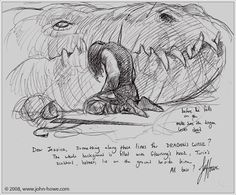 Dragon's Curse - first sketch by John Howe