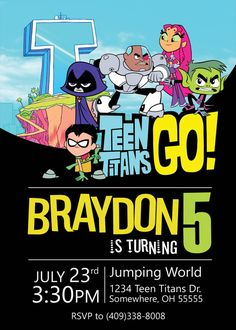 Teen Titans InvitationTeen Titans Birthday by DHDigitalDesign