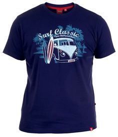 Kingsize retro 'Surf Classic' camper van print navy crew neck summer t-shirt in sizes 3XL - 6XL from Big Guys World - Fashion for the larger man.