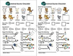 My Animal Doctor Checklist - Play/Pretend (Veterinarian/Doctor) product from Courtney-McKerley on TeachersNotebook.com