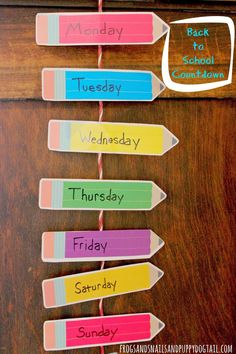 Back to School Countdown and Day of the Week Recognition