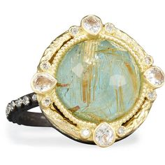 Armenta Old World Midnight Turquoise & Quartz Doublet Ring with... ($1,690) ❤ liked on Polyvore featuring jewelry, rings, blue turquoise, blue diamond jewelry, diamond rings, 18k ring, turquoise band ring and bezel set ring