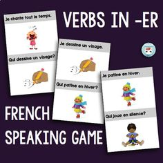 French speaking game to practice sentences using French verbs in -ER: this game plays just like J'ai. Qui a., but with sentences including ER verbs. Core French, French Class, French Lessons, French Verbs, French Grammar, French Teacher, Teaching French, How To Speak French, Learn French