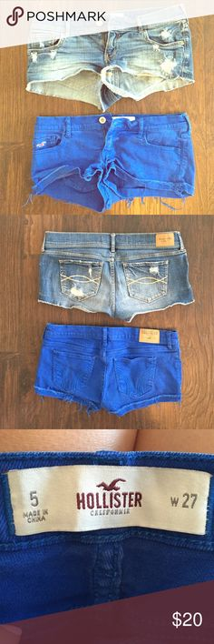 Hollister and Abercrombie & Fitch Denim Shorts Hollister shorts are a blue denim wash, size 5. A&F shorts are medium denim wash, size 6. Both are in excellent condition except for a tiny bit of green paint on the back left pocket of the A&F shorts, which I took a close up photo of but may be difficult to see as it is hardly noticeable. Both super cute for summer! Machine wash tumble dry. Abercrombie & Fitch Shorts Jean Shorts