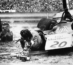 Giancarlo PICCININI Investito al Gran Premio di Spagna da Arturo Merzario 1974