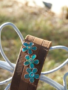 Leather Bracelet with 3 Copper Flowers by TheQueensDaughters, $25.00