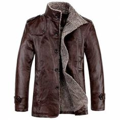 Men's Quality PU Leather Slim Fit  Plush Lining Warm Jacket
