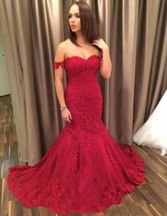 red off shoulder mermaid lace charming long prom dress 2017, PD4152