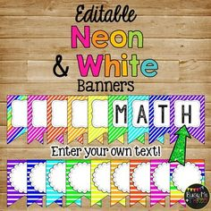 These are awesome Neon and White Banners that are Editable for the classroom. This is a fun bright decor to decorate your classroom the way you want. This is a 160 page set with 40 different color/style choices. Neon Classroom Decor, Classroom Banner, Classroom Layout, Classroom Labels, 3rd Grade Classroom, Classroom Design, Preschool Classroom, Future Classroom, Classroom Themes