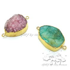 2 pcs Gold Plated Bezel Druzy Connectors in Pink and by AoryNL, $20.00