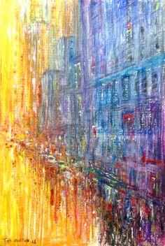 Semi abstract cityscape, crayon pen acrylic and glitter highlights. Modern Art, Contemporary Art, Glitter Highlight, John Waters, Wakefield, Tim Burton, Highlights, Abstract, Drawings