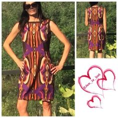 """Tahari Dress Size 6 Tahari Arthur S Levin Dress size 6 bust measures 18"""" laying flat, waist measures 15 1/4"""" and hips measure 17 1/2"""" total length of dress is 36"""". Colors includes: purple, brown, black, orange, gold and a cream/tan.  Worn twice like new condition.  Shell is polyester/3% spandex blend with a full lining of polyester/rayon/3% spandex blend.  Dress has minimum stretch. Back hidden zipper. Tahari Dresses"""