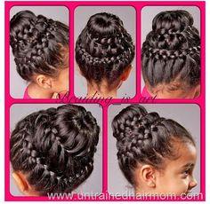 double crown braid bun tutorial - Lil C's hair for the wedding. it looks like a spiral Braided Hairstyles Updo, Donut Bun Hairstyles, Pretty Hairstyles, Wedding Hairstyles, Men's Hairstyle, Funky Hairstyles, Formal Hairstyles, Wedding Updo, Hairstyles Haircuts