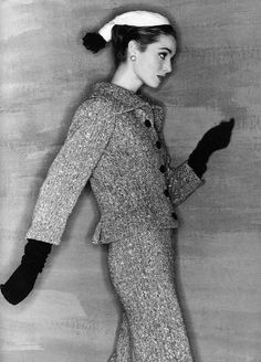 Elsa Martinelli in tweed suit by Balenciaga, photo by Clifford Coffin, French Vogue, September 1954
