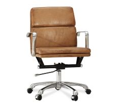 Nash Swivel Desk Chair, Leather Camel