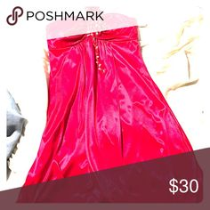 Haltered Homecoming Dress Red, silky material, loose fit, tie-halter top with gold sequins, mid-thigh length Dresses Mini