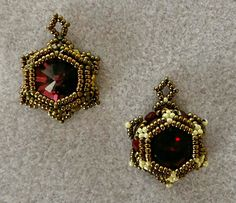 "SUNSET GLARE EARRINGS SAMPLE 2 seed beads Miyuki ""Dark Bronze"" seed beads Miyuki ""Eggshell Ceylon"" fire polished beads ""Ruby"" fire polished beads ""Transparent Gold Topaz Luster"" ""Garnet"" chaton (flat in the center) Beaded Earrings Patterns, Seed Bead Earrings, Diy Earrings, Jewelry Patterns, Seed Beads, Beaded Rings, Beaded Jewelry, Beaded Bracelets, Jewellery"