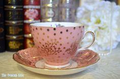 Colclough Pink And Gold Teacup and Saucer Set, English Bone China Tea Set, Garden Party, Vintage Cottage Wedding,  ca. 1962