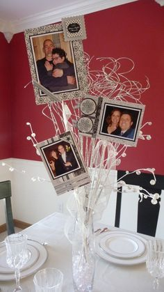 Attach photos to wooden skewers, cut to varying heights, and secure them inside … – DIY Geschenke und Hochzeit Picture Centerpieces, Simple Centerpieces, Centerpiece Ideas, 40th Wedding Anniversary, Anniversary Parties, Wedding Table, Diy Wedding, Wedding Ideas, Trendy Wedding