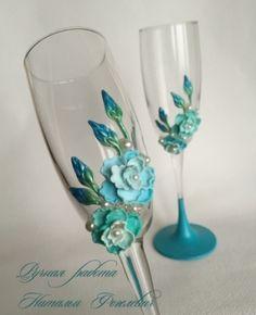 Свадебные бокалы  ♥ Бирюза ♥