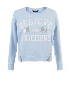 Teens Blue Believe In Unicorns Print Zip Hem Sweater    New Look
