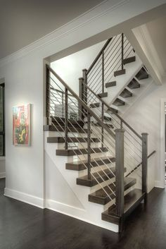 Stairway Railing Ideas Stylish Ways to Decorate stair railing remodel ideas tips for 2019 Stairway Railing Ideas, Indoor Stair Railing, Modern Stair Railing, Stair Railing Design, Staircase Railings, Modern Staircase, Cable Railing, Staircases, Banisters