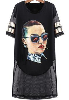 Black Short Sleeve Smoking Woman Print Gauze Dress US$24.80