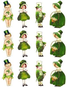 *Rook No. recipes, crafts & whimsies for spreading joy*: Free Vintage St. Patrick's Clip Art -- Wee Little Irish Lads & Lassies Scrap Page Images Vintage, Vintage Cards, Vintage Ephemera, St Paddys Day, St Patricks Day, Saint Patricks, St Patrick's Day Decorations, Erin Go Bragh, St Pats