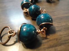 Forest green stone beaded copper wire by TellysTreasureChest, $11.00
