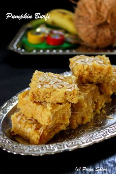 Its season for Pumpkins and its festive season. So, why not make a delicious Pumpkin burfi with it. Burfi is an Indian fudge made with milk combined with besan or mawa. Besan is better known as gra… Indian Dessert Recipes, Indian Sweets, Sweets Recipes, Cooking Recipes, Indian Recipes, Diwali Recipes, Gujarati Recipes, Indian Snacks, Coconut Burfi