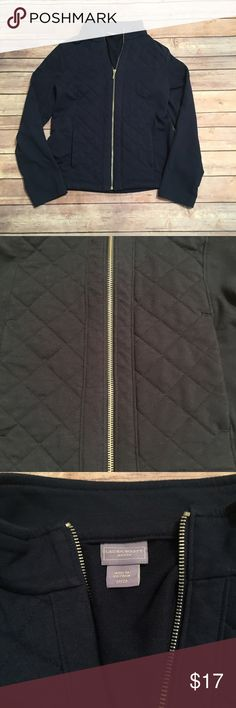 Laura Scott navy quilted zip up sweater Lightweight with quilted design. Has pockets. Good condition Laura Scott Tops Sweatshirts & Hoodies