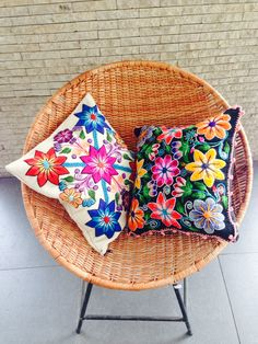 Items similar to Pillow cushion cover on Etsy Mexican Embroidery, Embroidery Art, Mexican Interior Design, Bohemian Furniture, Dark Interiors, Do It Yourself Home, Home Textile, Lana, Decorative Pillows