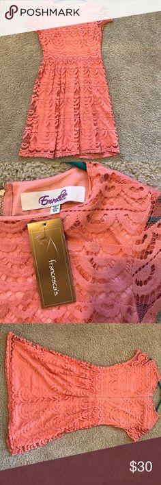 Francesca's Coral Lace Dress NWT Francesca's coral lace dress NWT. I bought this for a summer wedding but never wore it! Francesca's Collections Dresses Mini